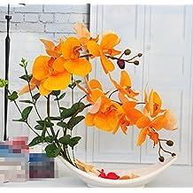 Hctina Fake flor artificial Phalaenopsis orquídeas planta en maceta naranja