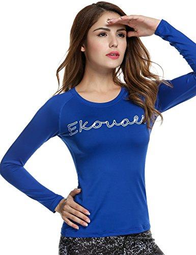 Ekouaer Haut à manches longues pour femme Performance athlétique UPF 50+ bleu marine