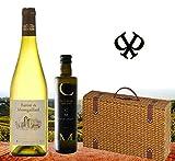 100% Sommer | Weisswein aus Frankreich & Olivenöl aus Spanien| Das Geschenk-Set im edlen Weidenkoffer | Castell Miquel Olivenöl und Baron Montgaillard trocken | Geniesser-Set für Garten-party oder zum Geburtstag