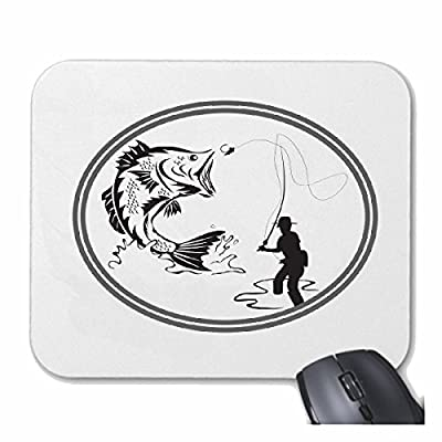 """Mousepad """"ANGLER FISHING ROD SEA FISHING FISH SEA FISHING FISHING BOAT FISHING CHOP FISHING LINE NETS"""" for your laptop, notebook or PC Internet .. (with Windows Linux, etc.) in White from Reifen-Markt"""