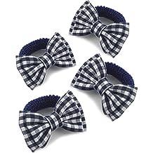 4x las niñas azul marino azul y blanco Gingham diseño de lazo–Gomas de pelo/Ponios/Elastics