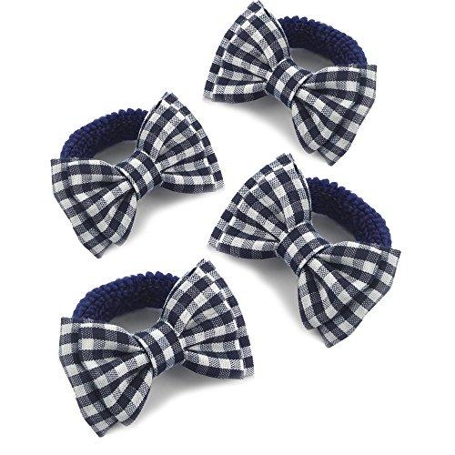 Gris Vichy Hair Bow Bobbles Bandeau Clip Uniforme Scolaire Bande Élastique Tissu