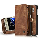 Excelsior Premium Leather Multifunctional Wallet Flip Cover Case For Apple iPhone 7 Plus - Coffee