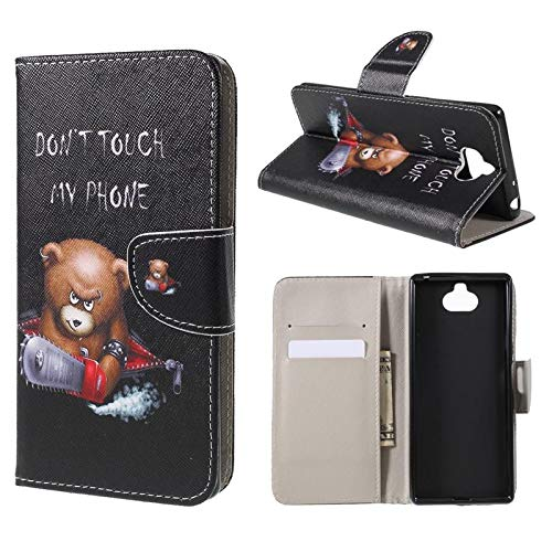 CoverKingz Handyhülle für Sony Xperia 10 Flip Cover, Handytasche Case, Schutzhülle mit Kartenfach, Handy Hülle Motiv Don´t Touch My Phone Bär