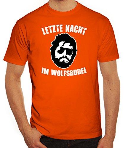Junggesellenabschieds JGA Hangover Herren T-Shirt Letzte Nacht im Wolfsrudel Orange