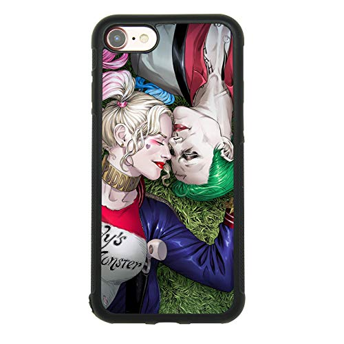 Joker und Harley Quinn Thema Fall für iPhone 7, iPhone 8(11,9cm) TPU Silikon Gel Edge + PC Bumper Case Haut Schutz Bedruckte Handy Full Cover Schutz