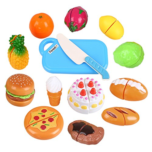Peradix Juguete para Niños Cortar frutas Hamburquesa Helado Comidas Alimentos 14 PCS