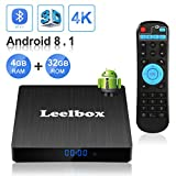 Android 8.1 TV Box, Android Box 4 GB RAM 32 GB ROM, Leelbox Q4s RK3328 Quad Core 64 bit Smart TV Box, Wi-Fi integrato, BT 4.1, Box TV UHD 4K TV, USB 3.0