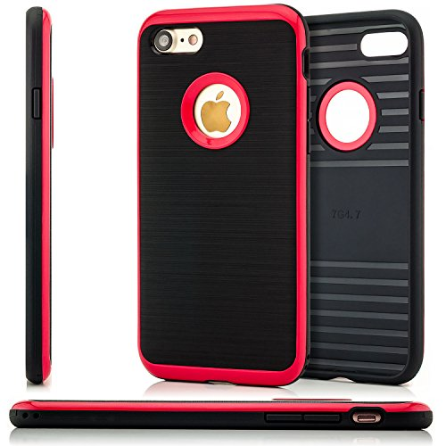 Zanasta iPhone 7 Coque + Verre Trempé TPU Case Ultra Hybrid Silicone Back Cover Premium Housse Etui Brushed Look Noir-Rouge Noir-Rouge