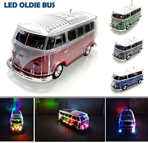 Nostalgie LED Bully Bus Box | Bluetooth | Rot | Car Multimedia Spaeker | Radio | MP3 | USB | MicroSD |Super Sound |Lithium-Ionen Akku|20x7x6cm Bus-boxen