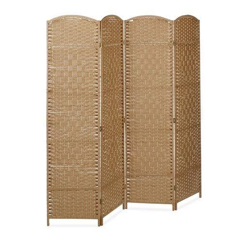 Relaxdays Paravent BYÖBU hoch H x B x T: 179 x 180 x 2 cm faltbarer Sichtschutz aus 4 Elementen auch als Raumteiler mit Bambus Streben Spanische Wand und blickdichter Raumtrenner aus Holz, natur -
