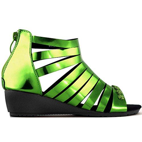 Show Story schaumwein Gr¨¹n Metallic Strappy Gladiator zur¨¹ck rei?verschluss keil sandalen,LF60701GR41,41,Gr¨¹n