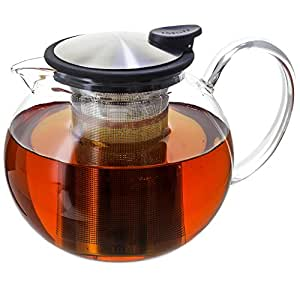 FORLIFE Bola Glass Teapot with Basket Infuser, noir Graphite, 38-Ounce