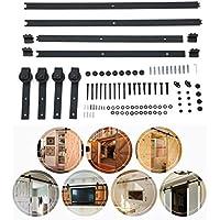 Schiebetürsystem Schiebetürbeschlag Set 1.83m/2m/2.44m/3.66m Rechteck-förmig Laufschiene Schiebetür (3.66M)