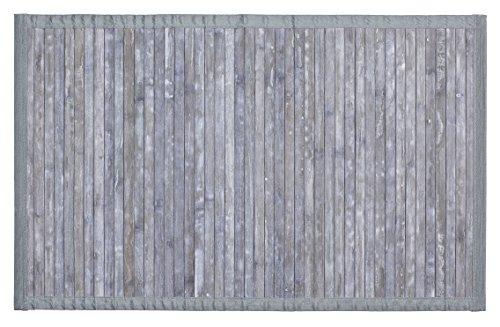 Wenko 22802100 Badematte Bamboo, Badvorleger mit Anti-Rutsch Beschichtung, Bambus, grau