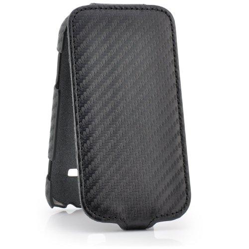 Saxonia Samsung Galaxy Y (GT-S5360) Hülle Flip Tasche Schutzhülle Displayschutz durch Klappverschluss Carbon-Optik Schwarz