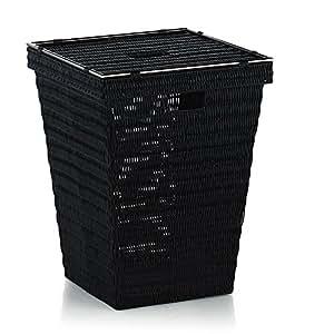 Kela 20968 panier à linge, plastique tressé/inox, 53 x 40 x 40 cm, noir, 'Noblesse'