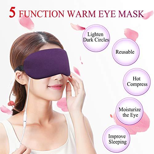 Wärme-Augenmaske, Lavendel-Dampf-Schlafmaske, warme Kompresse, USB-Heizkissen für Blepharitis, trocken, Stress, geschwollene Augen -