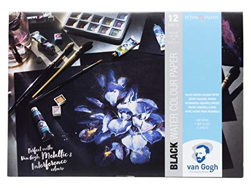 Van Gogh Black Water Color Paper, carta per acquerelli nera, 12 fogli, 360 g/m2 A3