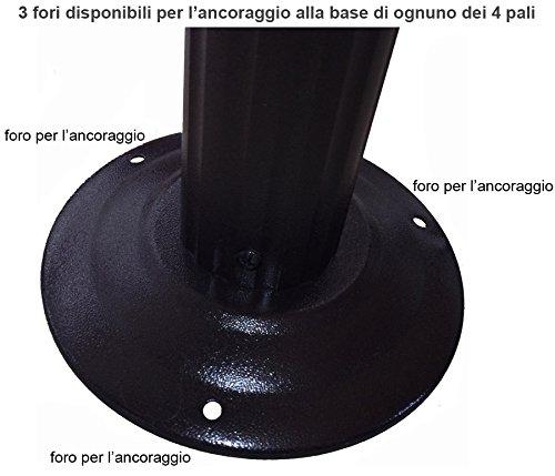 MICHELE SOGARI Gazebo 3X3 Giardino in Alluminio con Copertura 250 GR. Antipioggia 4 Zanzariere e 4 Teli Laterali