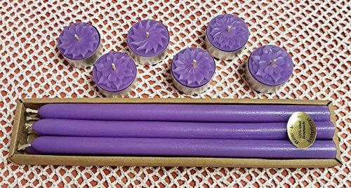 Kerzen Set 6 Leuchterkerzen + 6 Teelichter aus Bienenwachs Weinachtskerze Stabkerzen violett durchgefärbt Magie Spitzkerzen Tafelkerzen Weinachtsbaum Kerze violet Beeswax Candles
