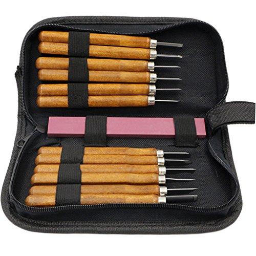 Coltello da intaglio di zucca di Halloween, Legno carving strumenti 12 in 1 set di scalpelli per legno professionale con custodia e temperino per principianti