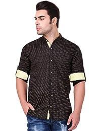 Lafantar Men's Mandarin Collar Slim Fit Casual Printed Shirt (vxt35,Black)