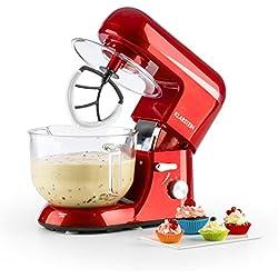 Klarstein Bella Rossa 2G • robot de cuisine • mélangeur • pétrin • 1200 W • 5,2 l • 6 vitesses • pétrin à planétaire • bol en verre • fixation rapide • fouets moulés • fouets à neige • rouge