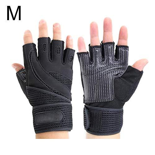 F-dujin Fitness-Handschuhe zum Gewichtheben, Halbfinger-Hantel-Sporthandschuhe, Rutschfest, verschleißfest, Anti-Zerschlagen, schwarz 1, 1