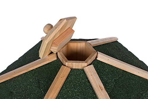 Edles Sechseckiges Vogelhaus 130022 mit Ständer Massivholz 115 cm hoch und mit Schindeldach gedeckt Futterkrippe Futterspender Futterhaus - 3