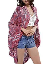 Futurino Femme Gilet Style Kimono Châle Imprimé Paisley Baggy Manches Chauve-Souris