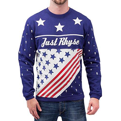 Just Rhyse Herren Oberteile / Pullover US Logo Blau