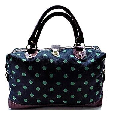 New Womens Canvas Weekend Overnight Bag Ladies Large Handbag Hand Luggage Cabin Maternity Holdall Daisy Tapestry Polka Dot - CB153-CB166