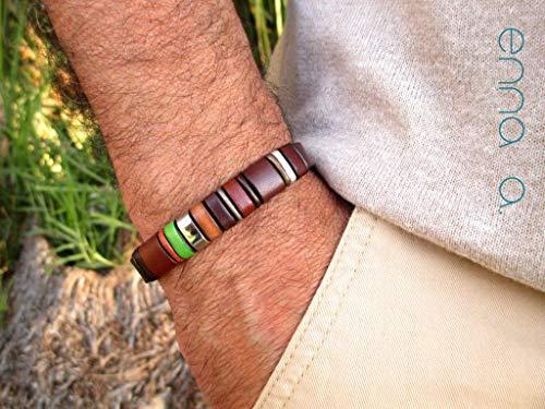 Braunes Lederarmband, Enna Clasic 24, Herrenarmband, Herrengeschenk, exklusives Design-Armband, Geburtstagsgeschenk, Accessoires für Mann
