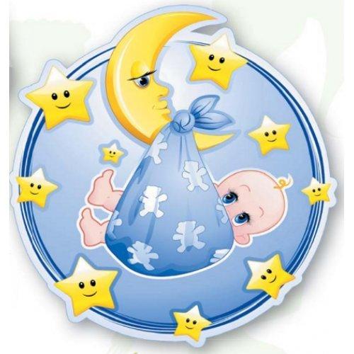 Tortenaufleger Tortenfoto Aufleger Foto Bild Geburt-Taufe rund ca. 20 cm (Junge) *NEU*OVP*
