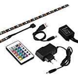 kwmobile TV LED Strip Hintergrundbeleuchtung - 4x 50cm USB RGB Farbwechsel LED Streifen dimmbar 5V Schwarz - Fernbedienung Netzteil - LED-Beleuchtung