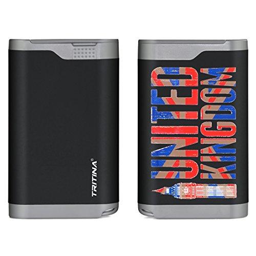 Tritina Banca portatile di potere 7800mAh antipioggia antipolvere copertura doppia porta USB caricabatteria esterno, indicatore a cristalli liquidi, per Apple Iphone, Ipad, Samsung Galaxy e altri telefoni cellulari e tablet--- (Nero),La Bandiera del Regno Unito