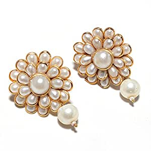 Jewar Mandi Gold Plated Metal With Pearl Earring For Women