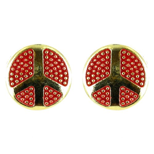 Ohrringe mit rundem Peace-Symbol vergoldet Rot (70 Prominente Kostüm)