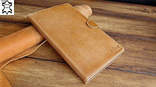 URCOVER® Custodia portafoglio Galaxy Tab Pro T320 8.4 | Protettiva Akira Fatta a Mano | Wallet Case Flip Cover in Vera Pelle marrone | Cuoio Artigianale Elegante Business Premium