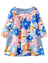 Mooler niñas de algodón de manga larga T-Camisa de vestir de azul vestidos de cuello redondo con estampado floral