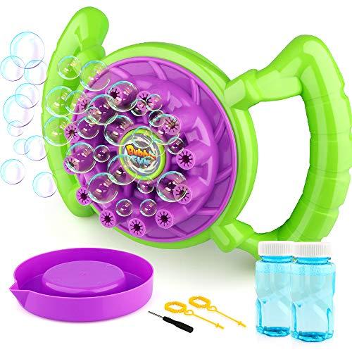 (Baztoy Bubble Machine, Seifenblasen Spielzeug für Kinder Junge Mädchen Seifenblasenmaschine Set mit 2 Flaschen von Flüssigkeit Bubble Maker Cool Sommer Spiel Geschenk für Outdoor Garten Party Hochzeit)