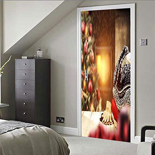DNFurniture 3D Tür Aufkleber Weihnachtshaus 80X200CM Wandaufkleber Urlaub zuhause Aufkleber PVC Illustration Geschenk Dekoration DIY wandbild Landschaft selbstklebend