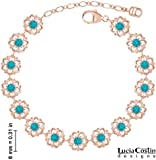 Lucia Costin Bracelet Made of 24K Pink Gold over .925 Sterling Silver with Turquoise - Green Swarovski Crystals and Cute Dots, Embellished with 6 Petal Flowers