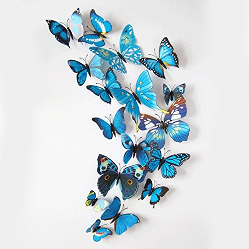 iDream 12pcs 3D PVC Magnet Butterflies DIY Wall Sticker Home Decoration (Blue)