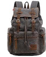 VOKUL® Vintage Casual Canvas Leather Backpack Rucksack Bookbag Satchel Hiking Bag