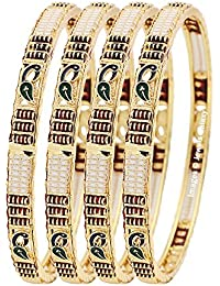 Jewels Galaxy Exclusive Mayur Designer Multicolor Gold Plated Bangle Set - Set Of 4