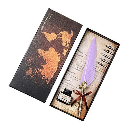 Schreibfeder Geschenkset Retro Feder Dip Pen Metall Maple Leaf Schreibtinte Mini Set für Business Gifting oder persönlichen Gebrauch Studenten Geburtstagsgeschenk Lehrertag mit Box Mehrfarben optional -