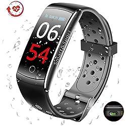 El Mejor Pulsera de Actividad Inteligente - GLAMSVILL Pulsera Actividad Reloj Inteligente Con Monitor Presión Arterial y Frecuencia Cardíaca, Para Dispositivos Android y Ios, Soporte español (Negro)
