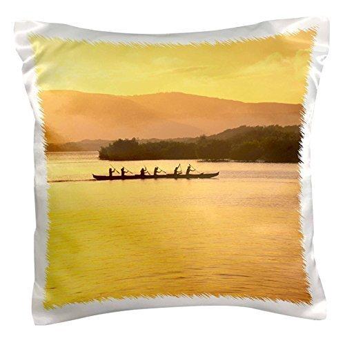 Outrigger canoe Sunset Molokai Hawaii-Douglas Peebles-Pillow Case, 16 by (Hawaii Outrigger)
